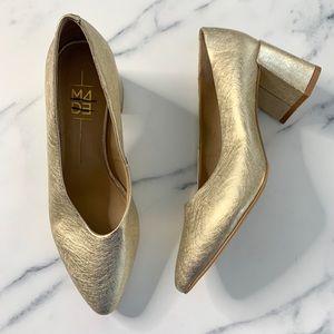 M4DE Helen Gold Metallic Block Heels